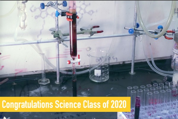 Congratulations Class of 2020 over test tubes