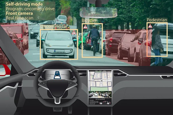 screen representing self-driving car