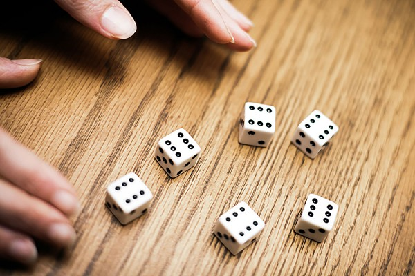 Five dice all turned up to value of six