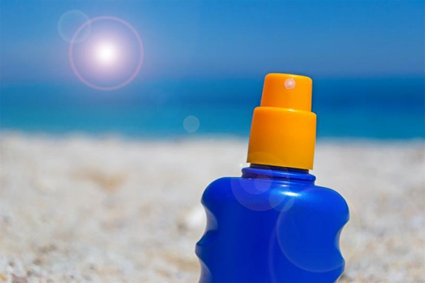 Bottle of sunscreen