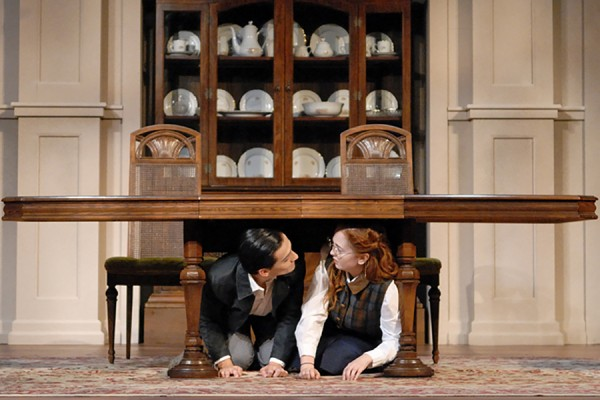 two actors under table