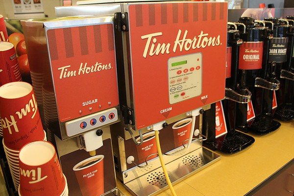 self-serve station for Tim Hortons coffee in the student centre Marketplace