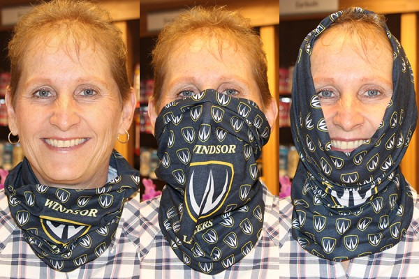 Lynda Leckie demonstrates three ways to wear the Lancer neck tube