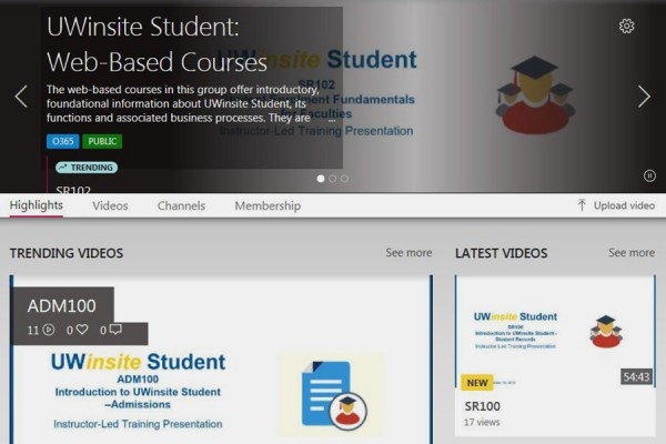 computer screen showing UWinsite training course