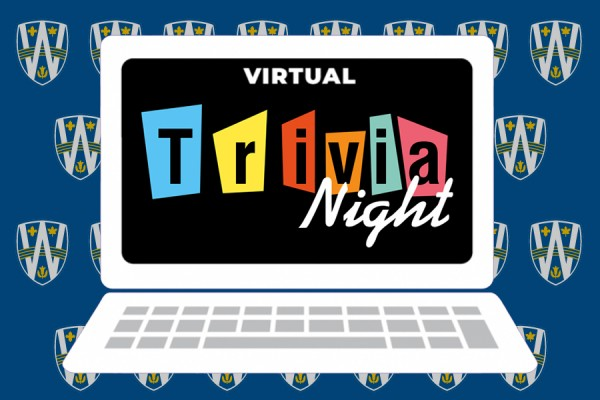 "laptop screen reading ""Virtual Trivia Night"""