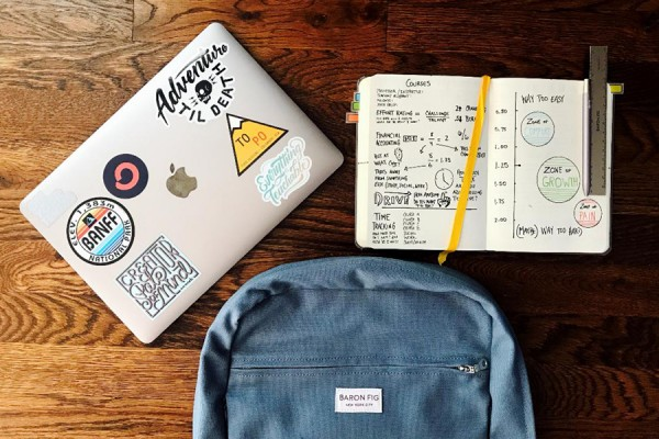 Backpack, dayplanner and other school supplies