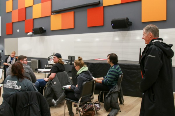 UWindsor President Alan Wildeman talks to a class on their first day in the new School of Creative Arts in downtown Windsor.