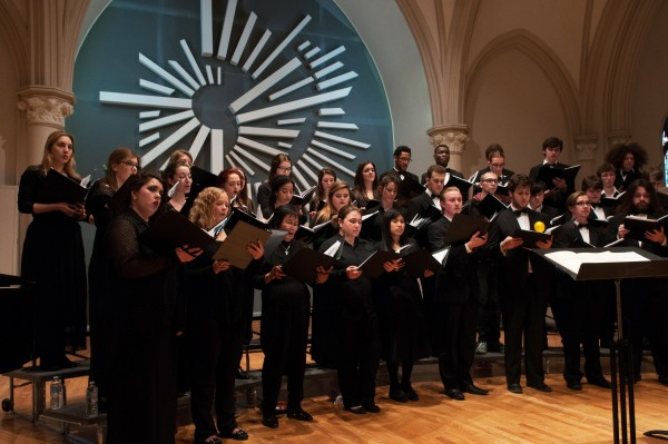 The campus musical ensemble has a membership of 70 to 80 singers each term, and is currently welcoming members from all segments of the campus who can pass a minimal audition.
