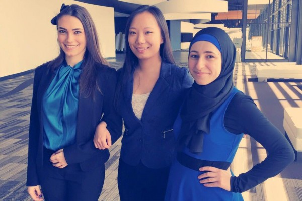 The team of Amal Ghamrawi, Ruoshi (Rose) Zhao, Tania Farah and (not pictured) David Tran, walked away with top honours at the Water Environment Association of Ontario (WEAO) Student Design Competition held recently in Toronto