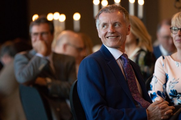 University of Windsor President Dr. Alan Wildeman listens to speakers during his farewell dinner at the St. Clair Centre for the Arts on Tuesday, May 8, 2018. Wildeman will be retiring on June 30, 2018.