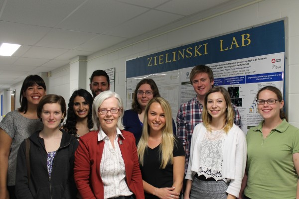 UWindsor biologist Barbara Zielinski and team. From left to right: Front row: Gillian Hughes, Dr. Barbara Zielinski, Jenna Jones, Kaela Scott, Dr. Michelle Nevett.  Back row: Tina Suntres, Georgette Nader, Gianfranco Grande, Alexandra Zygowska, Karl Boyes