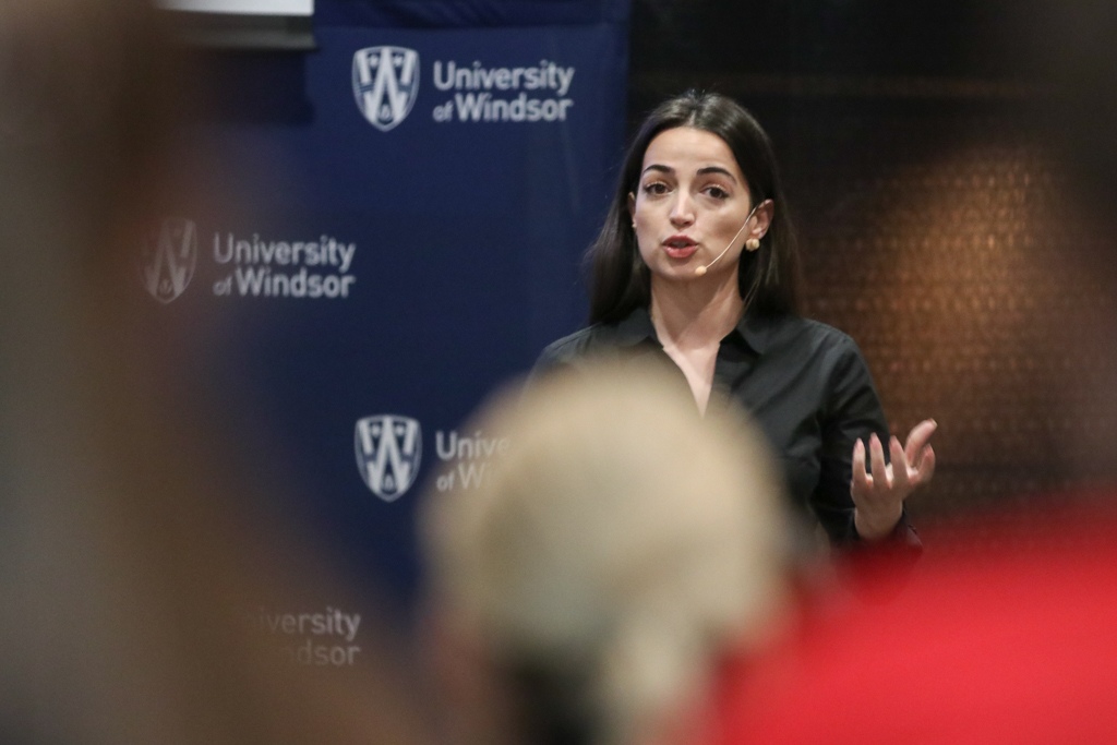 Ingrid Qemo, biological sciences doctoral student, presents during the Three Minute Thesis competition at the University of Windsor on March 26, 2018.