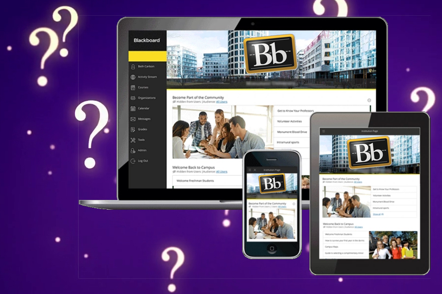screens displaying Blackboard surrounded by question marks