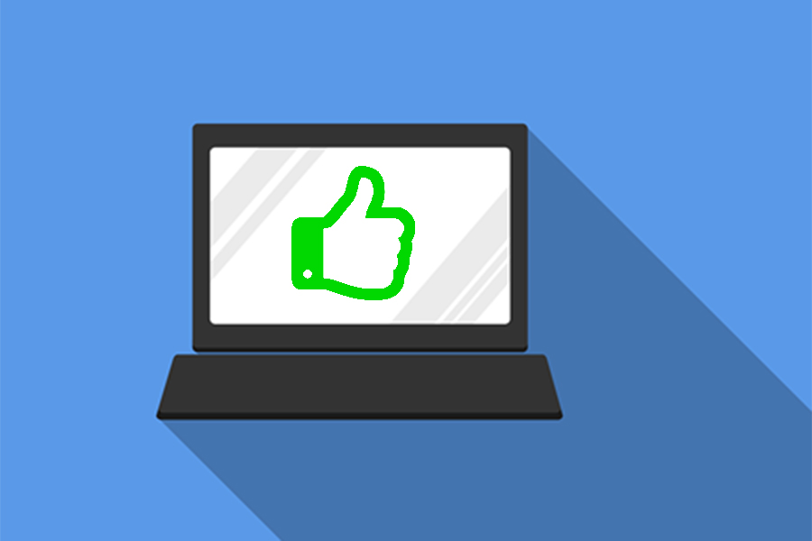 Computer giving thumbs-up