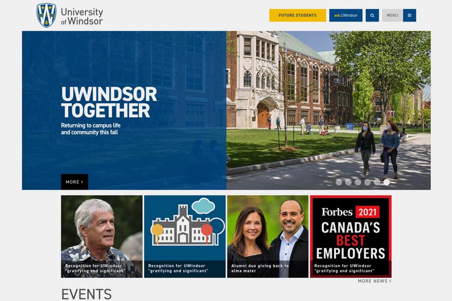 screen grab of uwindsor.ca homepage