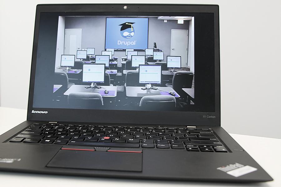 laptop computer displaying Drupal