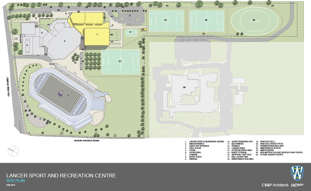 The Site Plan for the Lancer Sport and Recreation Centre.