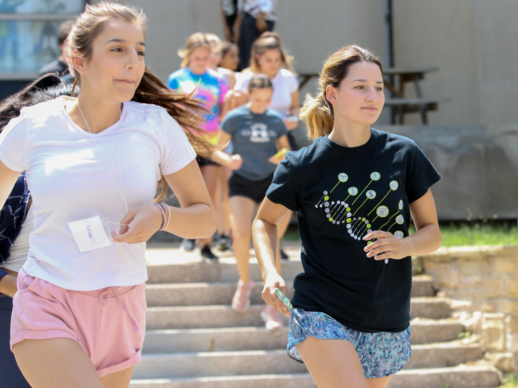 "A Grade 11 participant and undergraduate leader participate in the ""Amazing Race"" event during the UWindsor Science Academy on Wednesday, July 11, 2018."