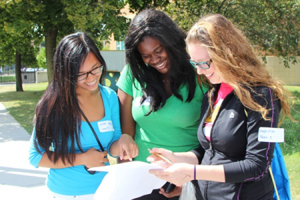 First-year students Arlene Abendanio, Princess Doe and Kayla Miller