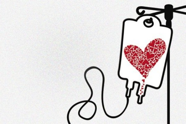 blood donated into heart-shaped bag
