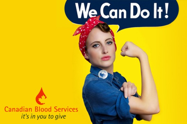 "woman rolling up sleeve, slogan ""We can do it!"""
