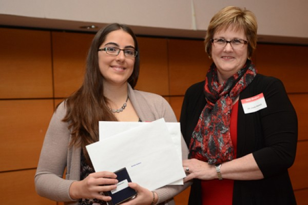 Honour student Brielle Hebert with dean Linda Patrick.