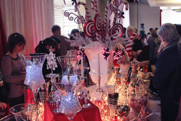 Silver lanes and candy canes aglow at last year's faculty and staff holiday luncheon.