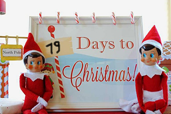 elves staging countdown to Christmas
