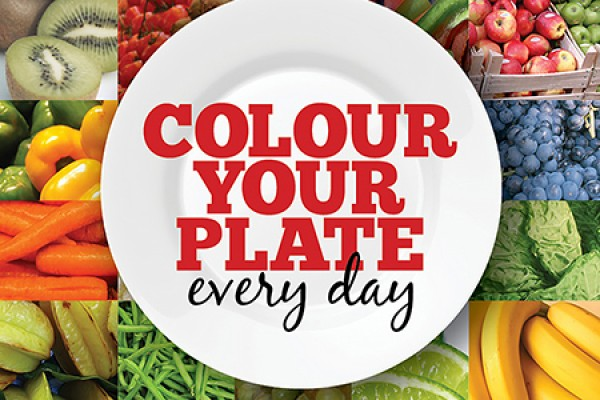 """Colour Your Plate"" graphic -- plate with fruits and vegetables"