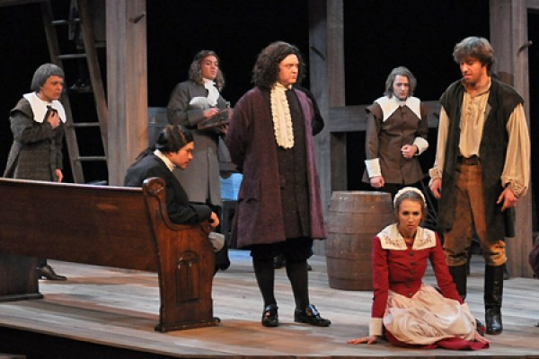 "Members of the cast of the University Players production, ""The Crucible."""