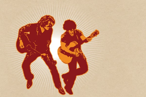 Hall and Oates silhouetted with guitars in hand