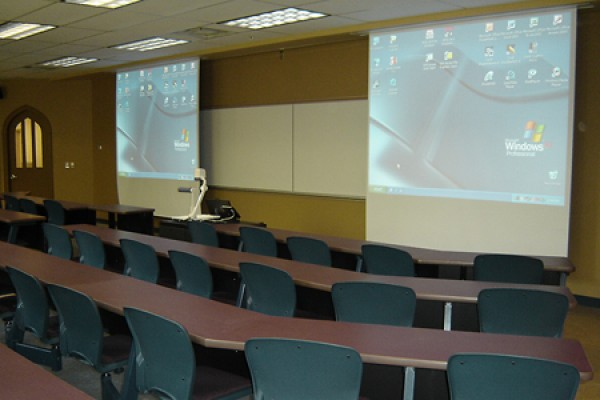 classroom showing modern screens