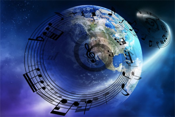 Earth surrounded by musical notes