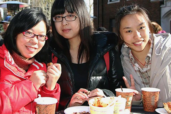 Students enjoy hot chili and beverages