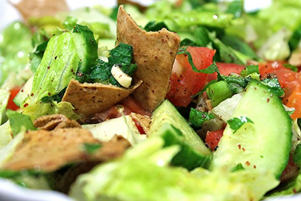 Fattoush salad with crispy pita chips
