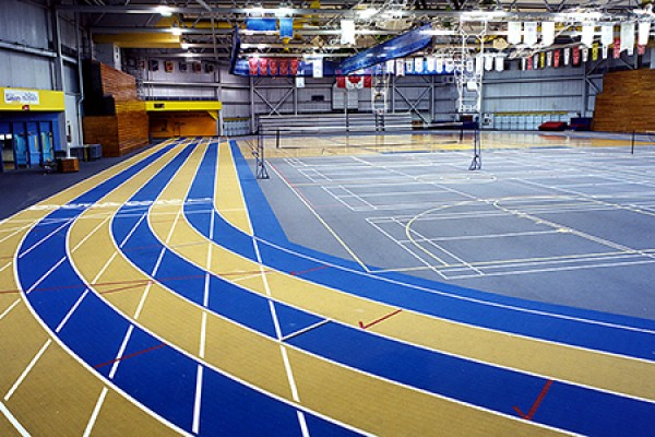 track inside the Dennis Fairall Fieldhouse