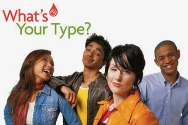 "blood donors with sign: ""What's your type?"""