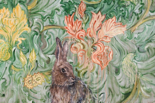 Iris with Hare, an oil painting on linen by Susan Gold Smith.