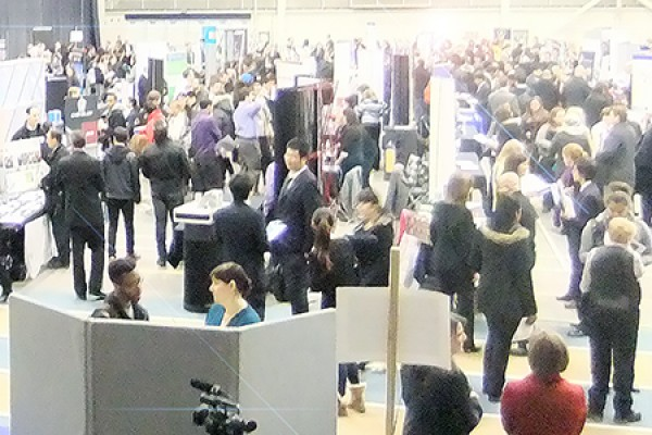 students meet prospective employers at the job fair