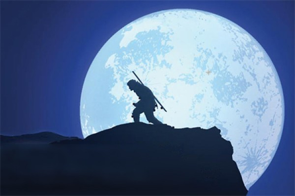 poster image - man silhouetted crouching against full moon