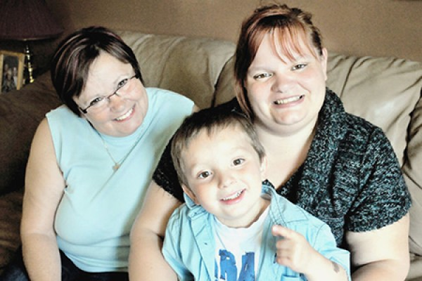 Danielle Leduc with her mother Anita and son David