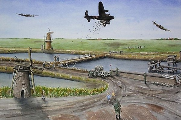 painting of the Bad Penny bomber dropping food bundles over Netherlands
