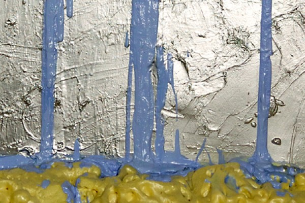 "Detail of ""Eldorado,"" oil paint, spray paint and spray foam on canvas, by Pearl Van Geest."