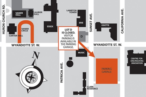 Map: Visitors to campus will park in the garage at Sunset and Wyandotte streets.