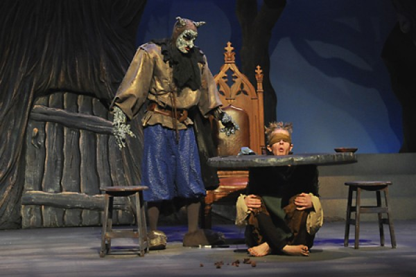 "Roberto Ercoli as the ogre and David Jackson as the table slave in the University Players production of ""Sleeping Beauty."""