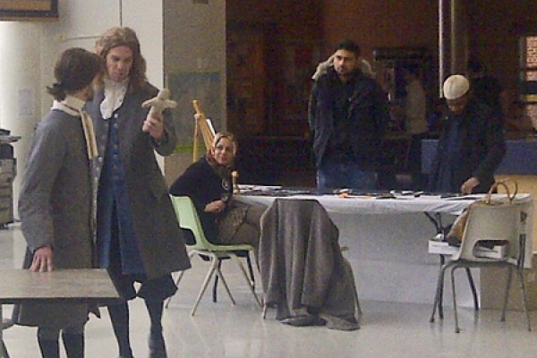 "Members of the cast of ""The Crucible"" enact a scene in the CAW Student Centre"