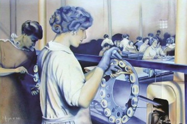artwork of women in factory