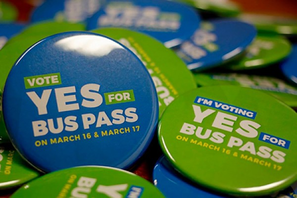 "Buttons bearing slogans ""Yes to U-Pass"""