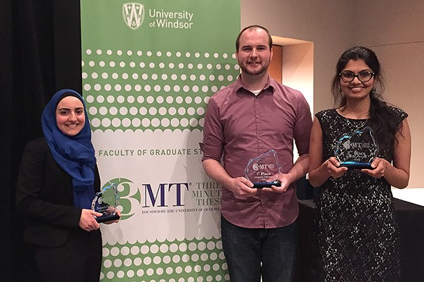 People's choice winner Zainab Bazzi, champion Jeremy Johnston, and runner-up Krithika Muthukumaran.
