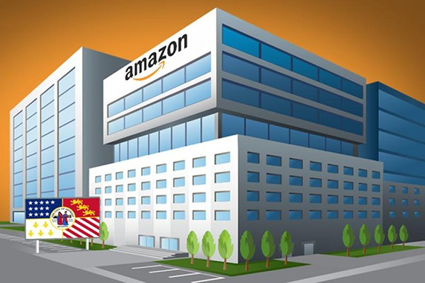 office building with Amazon sign